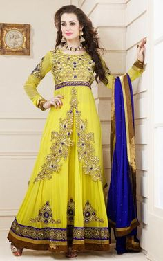 $111.11 Yellow Faux Georgette Zardosi Work Floor Length Designer Anarkali Suit 26276