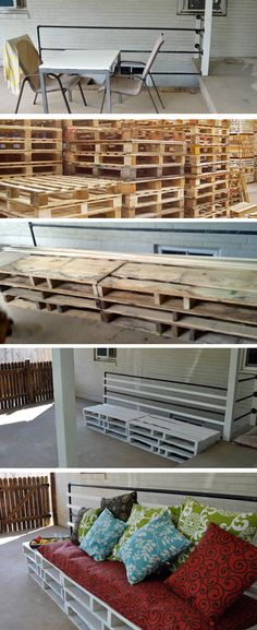 Pallet Bench: cut 3 large pallets in half and stacked them. For the back of the bench, we attached 3 more railings and painted everything white.