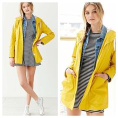 •Urban Outfitters   BDG• Yellow Raincoat I LOVE this yellow raincoat. ☔️On top of giving you serious Parisian and/or British countryside vibes, a mustard (or neon, or canary) jacket adds a pop of color to the usual subdued autumn palette.   Unfortunately, I don't end up wearing it as much as I would like because there just isn't enough solid raincoat weather in NYC.  I'm still hesitant about giving it up. As far as condition; it's perfect except one minor tear. ✅M and PP accepted. Email me…