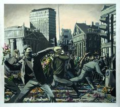 banksy.   throw flowers not bombs! peace and love! flower bomb, street art utopia, revolutions, graffiti, canvas art, flower power, flowers, banksi, canvases