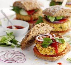 Chickpea & Coriander Burgers by BBC Good Food. High in fibre, low in fat and counting as 2 of your this tasty veggie burger delivers on every level. Bbc Good Food Recipes, Vegetarian Recipes, Cooking Recipes, Healthy Recipes, Chickpea Recipes, Fast Recipes, Amazing Recipes, Eat Healthy, Drink Recipes