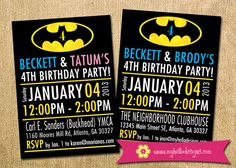 Batman Inspired Birthday Invitation for Twins - custom superhero invite kid child boy girl twins printable DIY birthday party