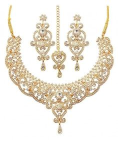Jewelry Set gold tone royal Indian bollywood white rhinestones grand bridal jewelry necklace for women - Gold - Color: Gold SKU: Gift-wrap: Available Indian Bridal Jewelry Sets, Indian Jewelry, Boho Jewelry, Beaded Jewelry, Jewelry Necklaces, Jewelry Design, Fashion Jewelry, Women Jewelry, Designer Jewelry