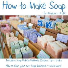 Homemade soap usually needs to cure for a month. But hot-process soap making speeds up cure time. Heating the soap cures it quickly, making it safe to use in one week and creating hard, long-lasting bars. Homemade Soap Recipes, Homemade Gifts, Homemade Masks, Homemade Paint, Soap Making Kits, Savon Soap, Bath Bomb Recipes, Homemade Beauty Products, Home Made Soap
