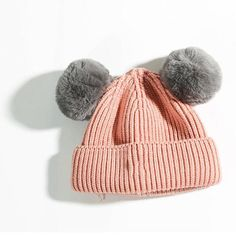 2017 New Stylish Windproof Warm Baby Toddler Girls Boys Winter Solid Knit Beanie Hat Crochet Ball Cap Beanies Skullies