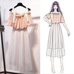Orchidmet : Lace Ornament Plaid T-shirt + Skirt Ulzzang Fashion, Kpop Fashion Outfits, Girls Fashion Clothes, Cute Fashion, Teen Fashion, Fashion Models, Fashion Drawing Dresses, Fashion Dresses, Casual Frocks