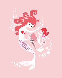 """mermaid mother & twin girls. pink, fuschia, magenta . 8X10"""" giclee print. mothers day gift.. $18.00, via Etsy. The Paper Nut"""
