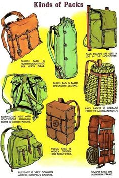 Different kinds of back packs