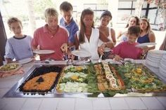 Keep food separate when organizing a buffet table.