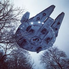 Millenium Falcon above the trees! Cool!