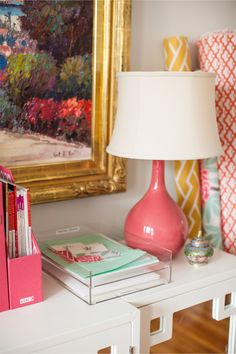 Interior and Textile Designer Caitlin Wilson // pink lamp // fabric // Photography by Courtney Apple // @Caitlin Wilson Textiles