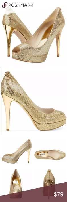 Michael Kors York gold peeptoe pump heel platform Michael Kors ✨ York ✨ gold champagne open peep toe pumps heels platforms ✨ gold glitter mesh leather & genuine leather lining inside ✨ gold heel stunning shoes !  Great with a party dress or as a stand alone dress up accent ! MICHAEL Michael Kors Shoes Heels