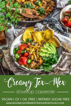 This rich, flavorful, and vegan Creamy Tex-Mex Stovetop Casserole is a one-pot wonder and bursting with wholesome goodness the whole family will love. #wholefoodplantbased #vegan #oilfree #glutenfree #plantbased | monkeyandmekitchenadventures.com