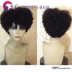 Hottest! short afro curly full lace wig American Africa Afro curly lace front wigs 8 inch short Peruvian virgin hair curly wig