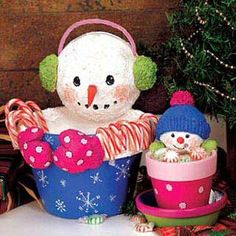 Make these clever Clay Pot Snowmen to guard your holiday candy.