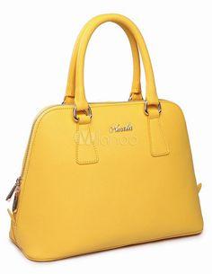 Saco de Tote da mulher casual couro amarelo - Milanoo.com