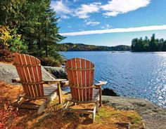 Photo about Adirondack chairs at shore of Lake of Two Rivers, Ontario, Canada. Image of muskoka, boulders, lounge - 21119344 Lac Champlain, Modern Talking, Best Family Vacation Spots, Vacation Ideas, Vacation Rentals, Vacation Club, Affordable Honeymoon, Honeymoon Ideas, Honeymoon Spots
