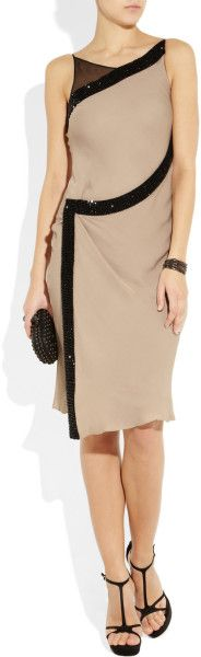 Amanda Wakeley Crystal Embellished Silk Dress in Beige