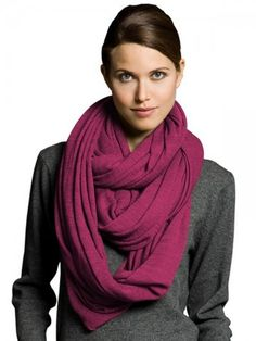 100% Lightweight Cashmere Draped Red-Violet Infinity Scarf