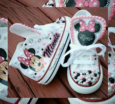 No two pair are exactly the same. These will for sure turn heads. Other shoe colors/themes available. Custom shoe orders take weeks for processing. - Online Store Powered by Storenvy Minnie Mouse Converse, Baby Converse Shoes, Minnie Mouse Birthday Outfit, Minnie Mouse Party, Baby Mouse, Custom Converse, Minnie Mouse Baby Stuff, Minnie Mouse Clothes, Mini Mouse Outfit
