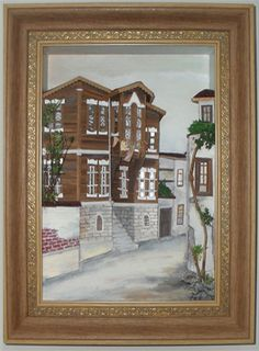 Eski Evler Ağaç Rölyef Tablo