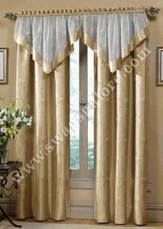 The Hawthorne curtains are a gracefully embroidered motif featuring floral and stem pattern on faux silk. The matching valance is a combination of embroidered sheer voile banded with solid faux silk. Cream Curtains, Luxury Curtains, Elegant Curtains, Home Curtains, Kitchen Curtains, Valance Curtains, Valances, Sheer Curtains, Window Curtain Designs