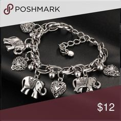 "Elephant and Romantic Heart Bracelet Fashion jewelry elephant and romantic hearts pendant bracelet, silver plated Alloy, 7"" with 2 1/2"" extender chain, has a nice weight to it Boutique Jewelry Bracelets"