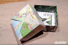 Gift without packaging waste: folding box made of waste paper Diy And Crafts, Crafts For Kids, Reduce Reuse Recycle, Waste Paper, Paper Storage, Diy Origami, Happy Mail, Creative Gifts, Recycling