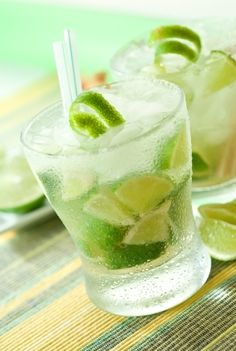 Caipirinha...lime, sugar, and cachaça, is the national cocktail of Brazil. Cachaça is a spirit distilled from fresh sugar cane juice.