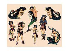 Vintage Mermaid Tattoo, Mermaid Tattoos, Tattoo Vintage, Pin Up Girl Tattoo, Pin Up Tattoos, Tatoos, Symbol Tattoos, Cowgirl Tattoos, Sailor Jerry Tattoo Flash
