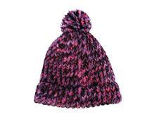 Beanie hat, handknit, black, plum purple, item BVO4