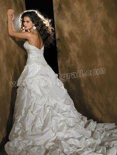 Taffeta Strapless Embroidered Bodice Ball Gown Wedding Dress