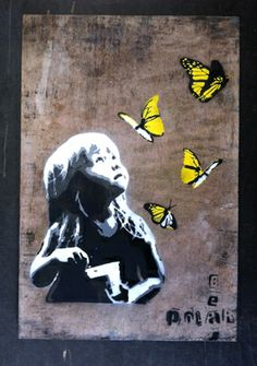 "Saatchi Online Artist PolarBear Stencils; Street Art, ""kid and butterflies"" #art"