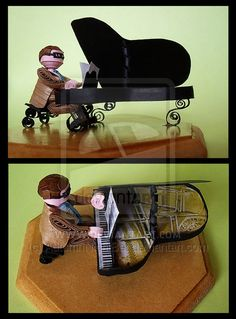 I can't help but think 3D quills are a little ... lame. This bespectacled guy playing his piano has some character though !