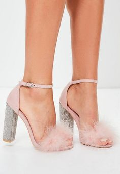 f67ff3687ca Get luxe af in this pink block heel sandals. With glitter and feather deets  -