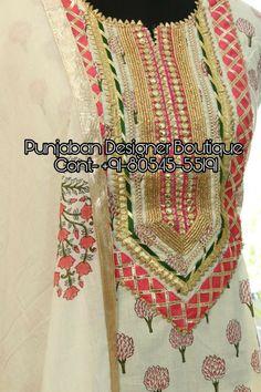 Shop Indian Salwar Kameez online made up of best quality fabrics with latest styles of unique suits - Designer Dresses Couture Salwar Suit Neck Designs, Kurta Neck Design, Neck Designs For Suits, Salwar Designs, Kurta Designs Women, Dress Neck Designs, Kurti Designs Party Wear, Designs For Dresses, Designer Kurtis