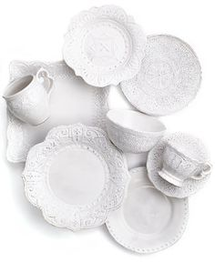 Maison Versailles Mix and Match Collection - Casual Dinnerware Sale - Dining & Entertaining - Macy's Casual Dinnerware, White Dinnerware, Dinnerware Sets, Versailles, Farmhouse Dinnerware, Farmhouse Bowls, Ideas Para Organizar, White Dishes, Fancy Dishes