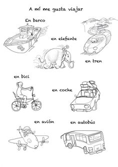 Spanish song to teach means of transportation by sea, air or land to kids and children. With drawings for coloring! Spanish Lessons For Kids, Spanish Basics, Spanish Lesson Plans, Spanish Activities, Spanish Songs, How To Speak Spanish, Learn Spanish, Spanish Teacher, Spanish Classroom
