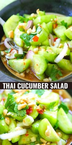 Thai Cucumber Salad, Cucumber Recipes, Healthy Salad Recipes, Healthy Snacks, Healthy Eating, Clean Eating, Recipes For Cucumbers, Thai Vegetarian Recipes, Easy Healthy Appetizers