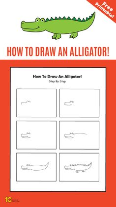 Creative Drawing How To Draw an Alligator step by step for kids - Related Posts Animal Jumble Surprise Gift Box Straw Flute Crazy Gloves How to Draw a Submarine 3 Stratagies for Finding Balance as a Parent Art Drawings For Kids, Drawing For Kids, Easy Drawings, Animal Drawings, Art For Kids, Learn Drawing, Drawing Ideas, Learn Art, Learn To Draw