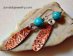 Turquoise Bead Copper Drops and Sterling Silver Earrings | zoraida - Jewelry on ArtFire