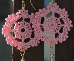 Crochet earring  Crochet jewelry  Pink crochet by lindapaula, €11.00