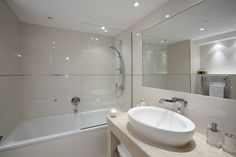 Bathroom, contemporary, modern, beige, interior design by Pulse Interior Design
