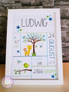 Picture frame for baptism gift for birth birth announcement with dates of birth christening present for grandchild reminder frame giraffe boy Christening Present, Baptism Gifts, Presents For Kids, Gifts For Kids, Baptism Pictures, Baby Showers Juegos, First Communion Favors, Memory Frame, Birth Gift