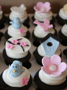 Blue Bird Themed Baby Shower Cupcakes (I would skip the pink bird and the big pink flower but love the rest)