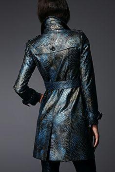Snake Print washed leather coat