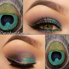 Makeup. Green Eyes. Peacock.