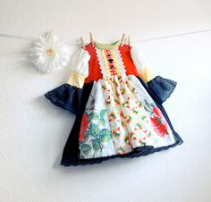 Toddler Christmas Dress 3T Red Gnomes Black Lace Children's Clothing Folk Inspired Girl's Upcycled Clothes Kid's Holiday Wear 'POLLY'. $65.00, via Etsy.