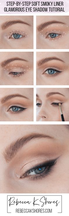 Step-by-Step Soft Smoky Liner Glamorous Eye shadow Tutorial │ Capsule Makeup Collection — rebeccakshores.com  This Step-by-Step Soft Smoky Liner Glamorous Eye shadow Tutorial will be on the cooler side of things..This eye shadow look can be altered to fit all eye shapes, yet will really flatter rounder eyes or those with more lid space and larger and predominate eyes. I have hooded, small eyes, so you can still make it work for other eye shapes.