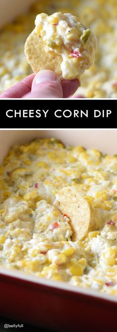 This cheesy corn dip is pure comfort food and ridiculously easy to make! Perfect for parties or game day get-togethers.